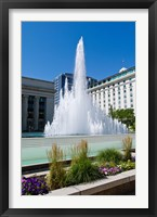 Framed Fountain at the Temple Square, Salt Lake City, Utah, USA