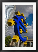 Framed Sculpture of an Euro sign in front of a building, Willy-Brandt-Platz, European Central Bank, Frankfurt, Hesse, Germany