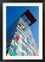 Framed Facade of a Coroful building, Medienhafen, Dusseldorf, North Rhine Westphalia, Germany