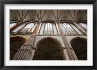 Framed Interiors of a gothic church, St. Mary's Church, Lubeck, Schleswig-Holstein, Germany