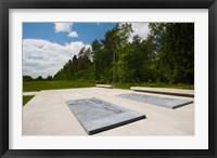 Framed Bergen-Belsen WW2 Concentration Camp, site of destroyed concentration camp, Lower Saxony, Germany