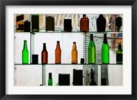 Framed Bottles displayed at foreigner bar, Old Town, Dali, Yunnan Province, China