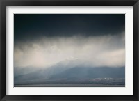 Framed Cangshan mountains and western shore of Erhai Hu Lake during spring storm, Wase, Erhai Hu Lake Area, Yunnan Province, China