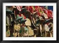 Framed Buddhist prayer wishes (Ema) hanging at a shrine on a tree, Old Town, Lijiang, Yunnan Province, China