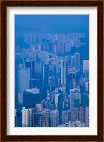 Framed High angle view of buildings in a downtown district, Central District, Hong Kong Island, Hong Kong