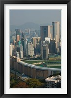 Framed High angle view of a horseracing track, Happy Valley Racecourse, Happy Valley, Wan Chai District, Hong Kong