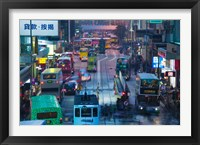 Framed Traffic on a street at night, Des Voeux Road Central, Central District, Hong Kong Island, Hong Kong