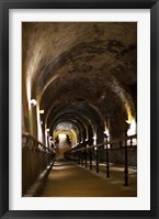 Framed Pommery Champagne Winery passageway to ancient Gallo-Roman quarries, Reims, Marne, Champagne-Ardenne, France