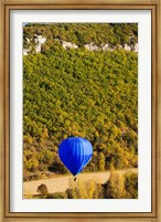 Framed Elevated view of hot air balloon over Dordogne River Valley, Castelnaud-la-Chapelle, Dordogne, Aquitaine, France