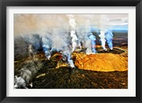 Framed Steam erupting from a volcano, Kilauea, Kauai, Hawaii