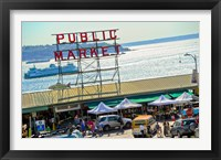 Framed People in a public market, Pike Place Market, Seattle, Washington State, USA