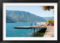 Framed Sundeck and floating pool at Grand Hotel, Tremezzo, Lake Como, Lombardy, Italy