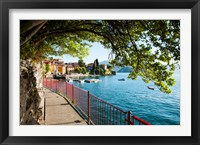 Framed Walkway along the shore of a lake, Varenna, Lake Como, Lombardy, Italy