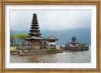 Framed Pura Ulun Danu Bratan temple on the edge of Lake Bratan, Baturiti, Bali, Indonesia