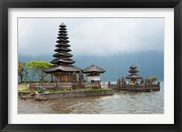 Framed Pura Ulun Danu Bratan temple on the edge of Lake Bratan, Baturiti, Bali, Indonesia
