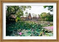 Framed Water lilies in a pond at the Pura Taman Saraswati Temple, Ubud, Bali, Indonesia