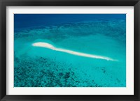 Framed Aerial view of Coral Reef, Great Barrier Reef, Queensland, Australia