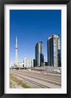 Framed Skyscrapers and Railway yard with CN Tower in the background, Toronto, Ontario, Canada 2013