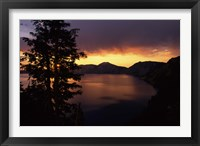 Framed Sunrise view from Discovery Point over Crater Lake, Crater Lake National Park, Oregon, USA