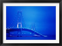 Framed Fog surrounding the Mackinac Bridge at dusk, Michigan, USA