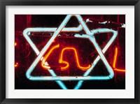 Framed Neon Jewish star symbol