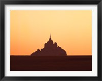 Framed Mont Saint-Michel at sunset, Manche, Basse-Normandy, France