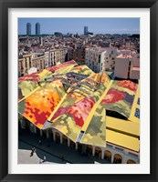 Framed High angle view of Santa Caterina Market with cityscape in the background, Barcelona, Catalonia, Spain