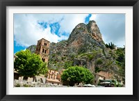 Framed Low angle view of a village at the mountainside, Moustiers-Sainte-Marie, Provence-Alpes-Cote d'Azur, France
