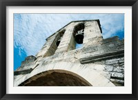 Framed Low angle view of a bell tower on a bridge, Pont Saint-Benezet, Rhone River, Provence-Alpes-Cote d'Azur, France