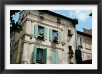 Framed View of an old building with flower pots on each window, Rue Des Arenes, Arles, Provence-Alpes-Cote d'Azur, France