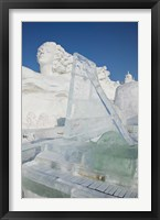 Framed Ice piano by frozen Sun Island Lake at Harbin International Sun Island Snow Sculpture Art Fair, Harbin, China