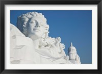 Framed French themed Snow Sculpture by frozen Sun Island Lake, Harbin, China