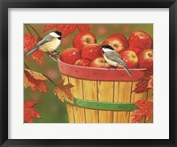 Framed Apples In Basket With Chickadees