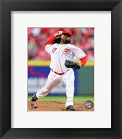 Framed Johnny Cueto Pitching Baseball