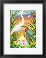 Framed Green And White Herons