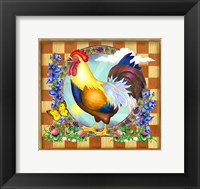 Framed Morning Glory Rooster III