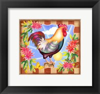 Framed Morning Glory Rooster IV