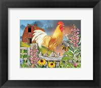 Framed Yellow Rooster Greeting The Day