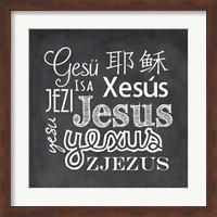 Framed Jesus in Different Languages Chalkboard