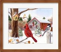 Framed Cardinal, Chickadee & Christmas Barn
