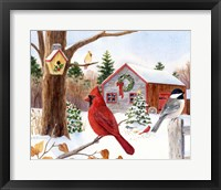 Framed Cardinal, Chickadee & Christmas Barn