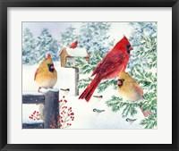 Framed Cardinals In Snow Flurry
