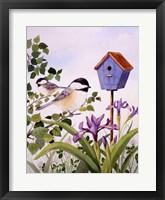 Framed Chickadees And Iris