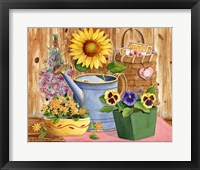 Framed Pansies & Sunflowers