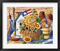 Framed Sunflowers and Flag