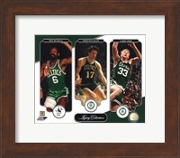 Framed Bill Russell, John Havlicek, & Larry Bird Legacy Collection
