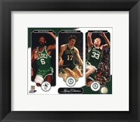 Framed Bill Russell, John Havlicek, & Larry Bird Legacy Collection