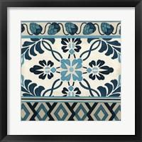 Non-Embellished Indigo Frieze I Framed Print
