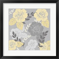 Framed Yellow Roses on Grey I