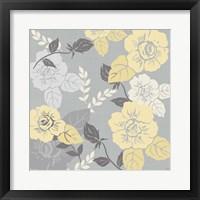 Yellow Roses on Grey II Framed Print